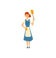 Cleaning woman standing with duster and rug maid vector
