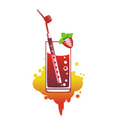 cocktail with straws in the form of flute vector image
