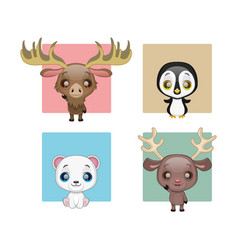 collection of cute winter animals vector image