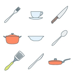 Color outline dinnerware icons set vector
