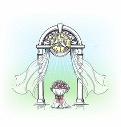 Colored wedding arch with rose flowers vector