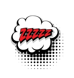 Comic text zzz sleep pop art bubble vector