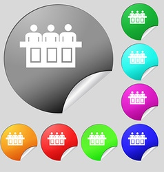 Conference icon sign Set of eight multi colored vector image