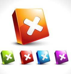 cross icon 3d design vector image