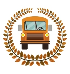 Crown of leaves with school bus vector