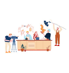 Culinary program or blog broadcasting man vector