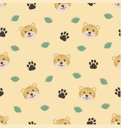 cute animals cartoon tigers seamless pattern vector image