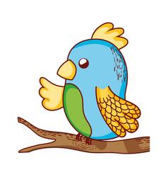 cute animals parrot in branch tree cartoon vector image