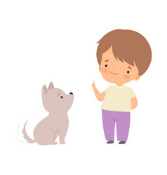 cute boy playing with puppy kid interacting with vector image