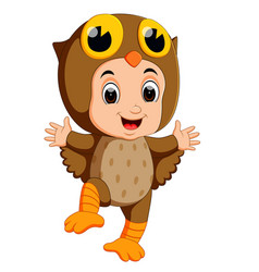 Cute kids cartoon wearing owl bird costume vector