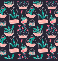 cute terrarium flower plant seamless pattern vector image