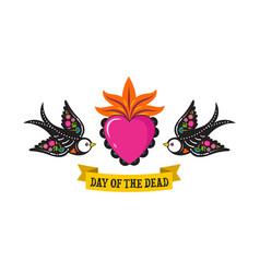 day dead dia de los moertos birds skulls vector image