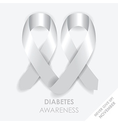 Diabetes heart ribbon vector
