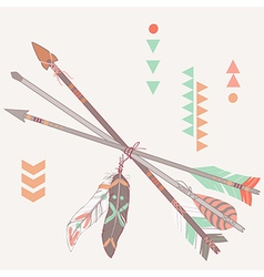 Different ethnic arrows with feathers vector