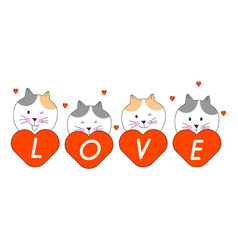 Draw head cat red heart and word love vector