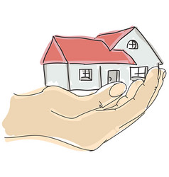 Drawn colored humans hand holding house vector