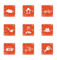 External icons set grunge style vector