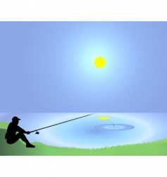 Fisherman with a fishing tackle vector