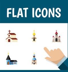 flat icon church set of religion christian vector image