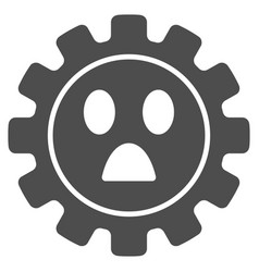 Gear wonder smiley flat icon vector