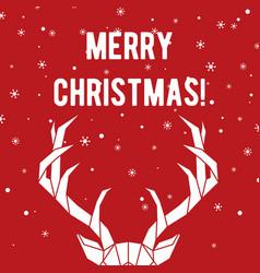 Geometric deer horns merry christmas greeting vector