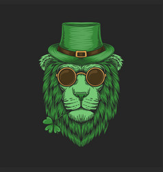 green lion head st patricks day vector image