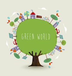 Green planet earth tree with sustainable city vector