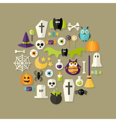 Halloween Flat Icons Set Over Light Brown vector