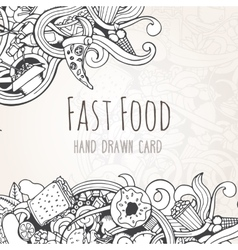 hand drawn background fast food elements vector image