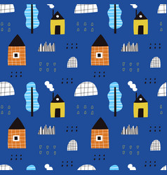 hand drawn houses and trees seamless vector image