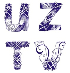 Hand-drawn letters T U V Z vector