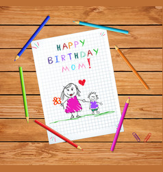 Happy birthday mom baby drawing of father and son vector
