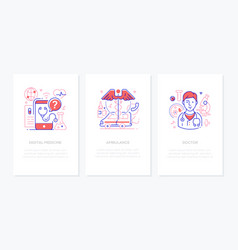 Healthcare concept - line design style banners set vector