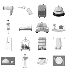Hotel icons set gray monochrome style vector image