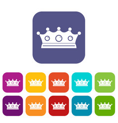 Jewelry crown icons set flat vector