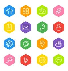line web icon set on colorful hexagon vector image