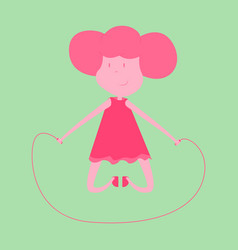 Little girl playing skipping rope vector