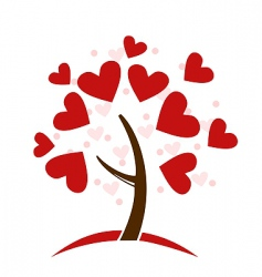 love hearts tree vector image