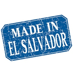 Made in El Salvador blue square grunge stamp vector