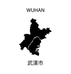Map wuhan city sign china eps ten vector