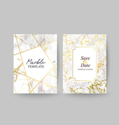 Marble gold texture card wedding invitation vector