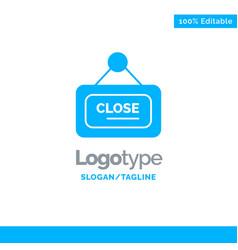 Marketing board sign close blue solid logo vector
