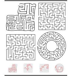 maze leisure game graphics set vector image