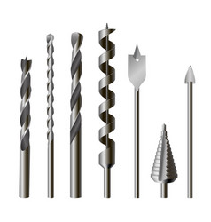 metallic drill bits equipment and tool set vector image