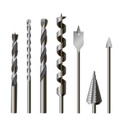 metallic drill bits equipment and tool set vector image