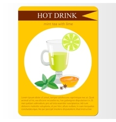 Mint tea with lime menu item or sticker vector