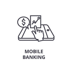 Mobile banking line icon outline sign linear vector