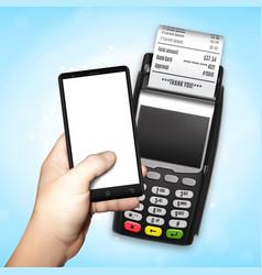 mobile payment trough pos terminal vector image