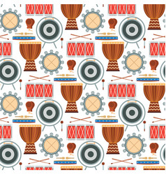 musical drum wood rhythm music instrument seamless vector image