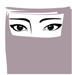 Muslim woman in niqab arabian girl portrait vector